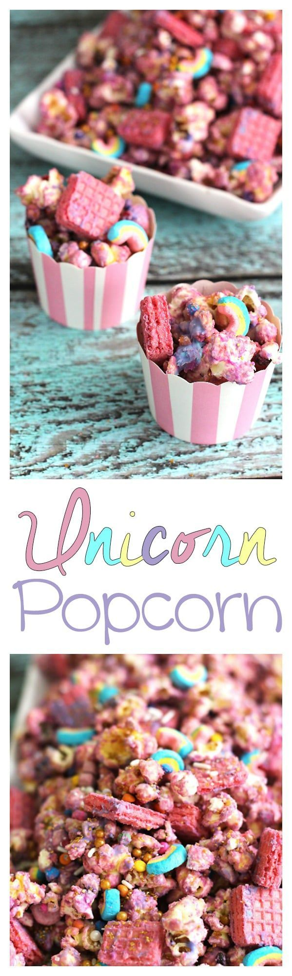 Pink and gold mix together with this rainbow unicorn popcorn recipe. Perfect for birthday party or a kid's snack just for fun! (Unicorn Cake Pops)