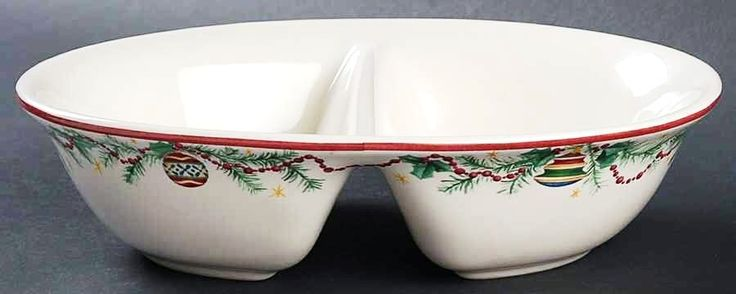 Pristine unusedPfaltzgraff Holiday Garland Divided Vegetable Bowl at Vintage From Paul for . & 549 best Christmas Dinnerware u0026 Glassware Antique Vintage ...