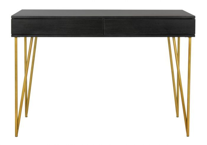 Pine Desk with 2 Drawers in Black and Gold Made with Iron, MDF by Safavieh