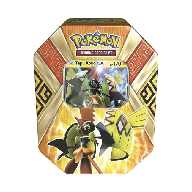 This tin includes 1 foil Tapu Koko-GX card, 4 Pokémon TCG booster packs, and 1 code card for unlocking a playable deck in the Pokémon TCG Online!