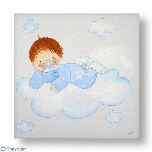 Cuadro infantil personalizado beb en una nube ref - Cuadros audrey hepburn ...
