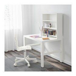 IKEA - PÅHL, Scrivania con scaffale, bianco, , Questa scrivania è progettata per crescere insieme al tuo bambino, poiché si può regolare a 3 altezze diverse.È facile regolare la scrivania a diverse altezze, 59, 66 o 72 cm, usando i pomelli sulle gambe.Tieni in ordine cavi e prolunghe sistemandoli nei raccoglicavi tra le gambe anteriori e posteriori.Puoi girare verso l'esterno il lato verde o quello bianco del pannello di fondo in base allo stile che preferisci e all'arredame...