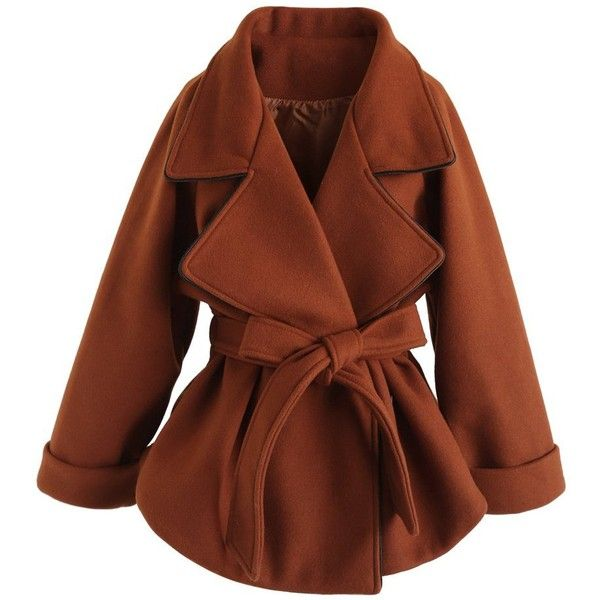 Chicwish Kindle Your Passion Coat in Caramel ($90) ❤ liked on Polyvore featuring outerwear, coats, brown, caramel coat, trench coat, caramel trench coat, brown trench coat and brown coat