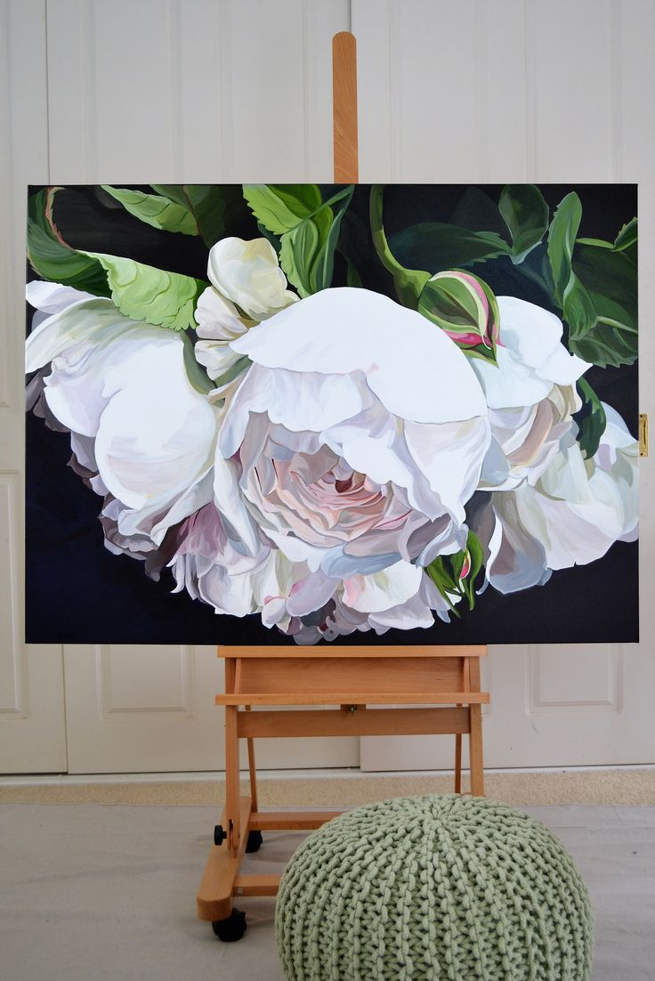 DESDEMONA  - SOLD   120 x 90cm.  Deep Edge Canvas (3.5cm) Acrylics with Oil Glaze. Pale pinkish cream David Austin roses in a bouquet.