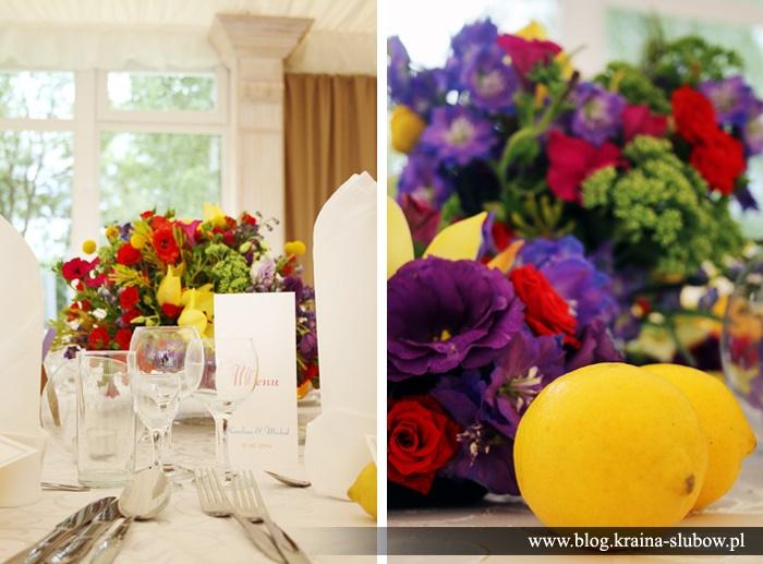 Wedding table centerpiece, lemons / Kraina Ślubów / fot. Ewa Wardęga