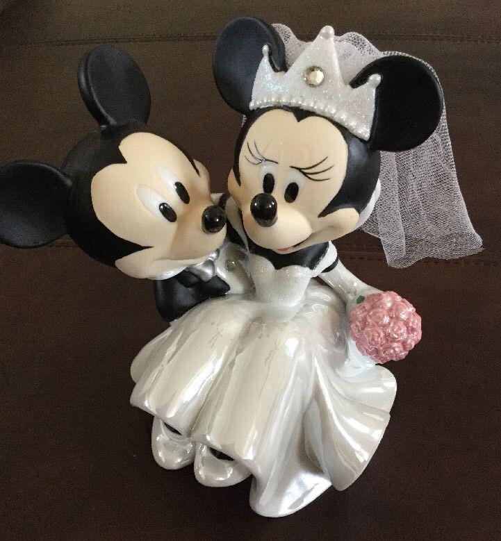Walt Disney Parks Porcelain Minnie Mickey Mouse Figurine Wedding Cake Topper
