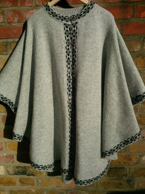 Pure Wool Ladies Poncho Gray with Black Trim by ArtEstWool on Etsy