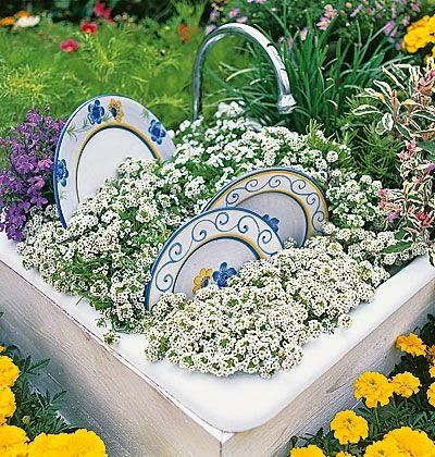 an old sink in a garden makes a cute planter - especially with the dishes added!