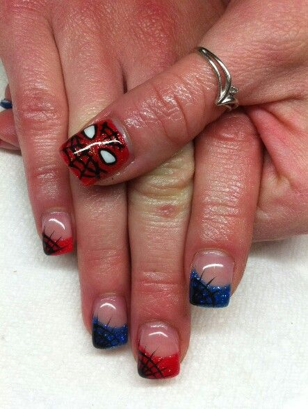 26 best spider man nails images on pinterest enamel enamels and spider man nails prinsesfo Choice Image