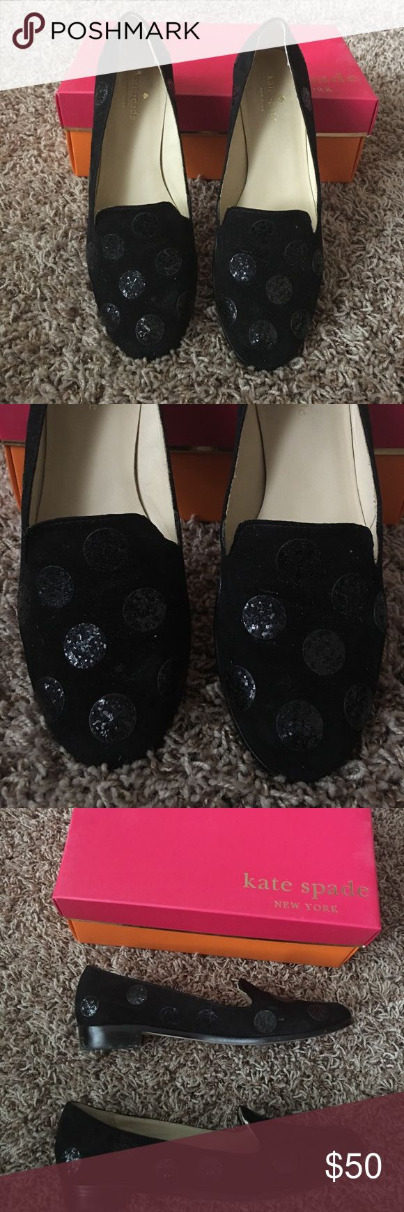 KATE SPADE SUEDE SHOES 👠 SALE In good condition. Suede with black polka dots. kate spade Shoes