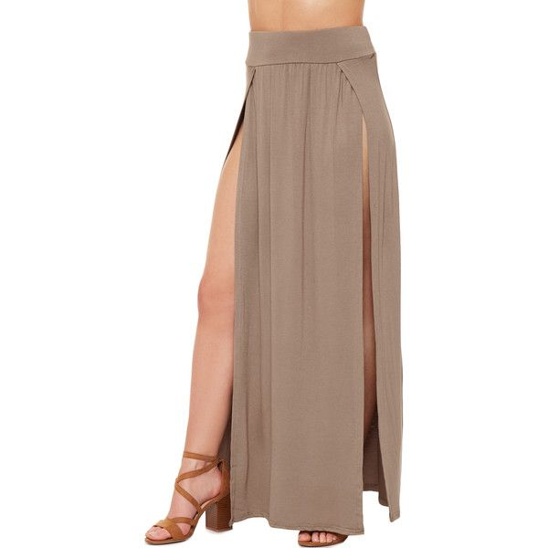 WearAll Thigh High Double Split Maxi Skirt ($20) ❤ liked on Polyvore featuring skirts, mocha, long stretchy skirts, brown maxi skirt, long ankle length skirts, long brown maxi skirt and long rayon skirt