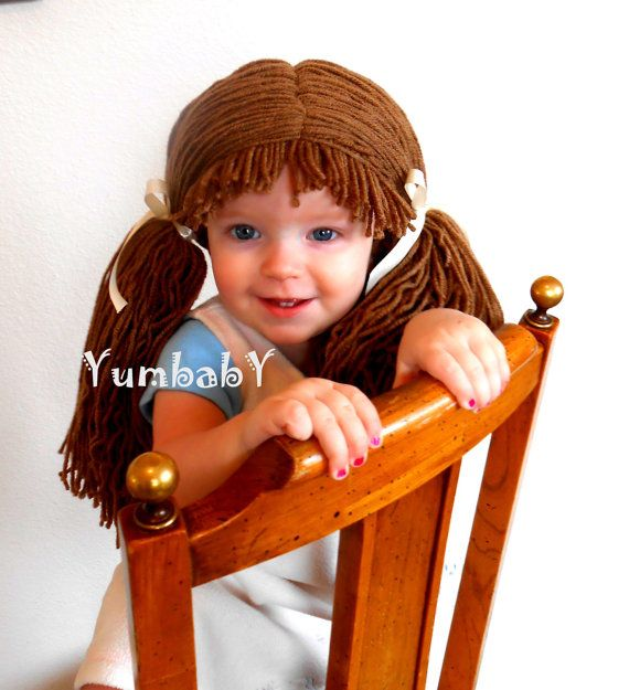 Doll Wig Cabbage Patch Inspired Baby Hat Baby Girl by YumbabY, #babies #baby #toddler #hat #cabbage #patch #wig #cute #funny #hair #yarn #etsy