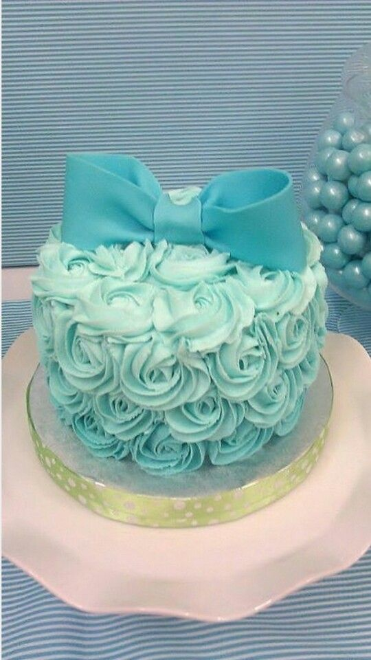 Lovely Teal Rose Petal Ombré Cake. Delicious!