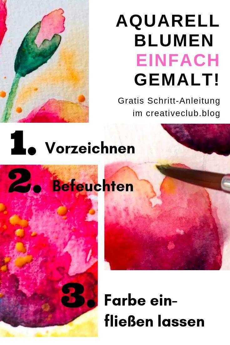 aquarell geballter blumenblätterregen  aquarell malen