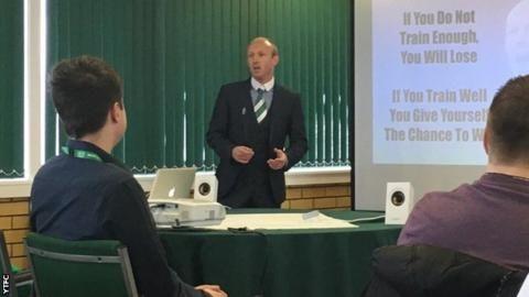Darren Way: Yeovil manager delivers slideshow presentation at media conference
