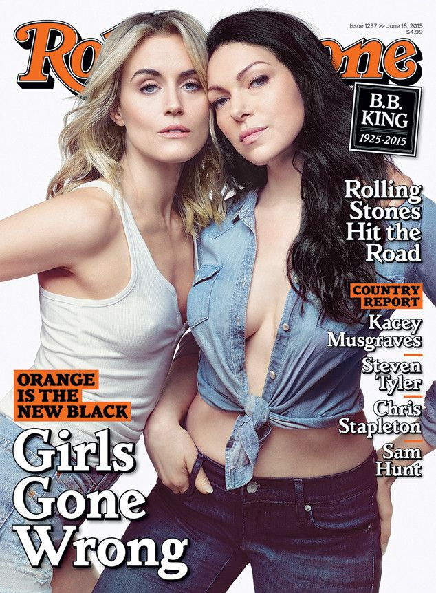 Taylor Schilling Nips Out, Laura Prepon Flaunts Cleavage for Rolling Stone as OITNB Cast Talks No ''Assholes'' Policy  Taylor Schilling, Laura Prepon, Rolling Stone