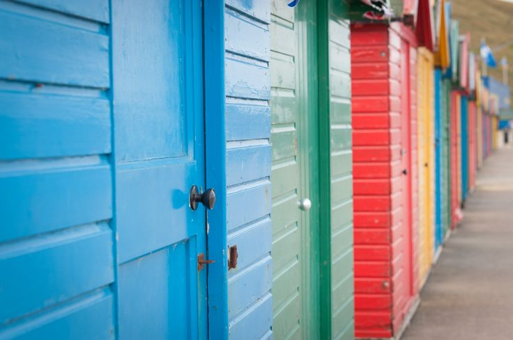 The Beach huts make a great, colourful backdrop