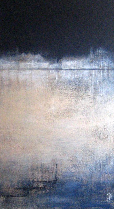 Venice art of Saya Becuwe.. Nuit sur la lagune 2011 acrylique sur bois 80x40   - Collection particulière -