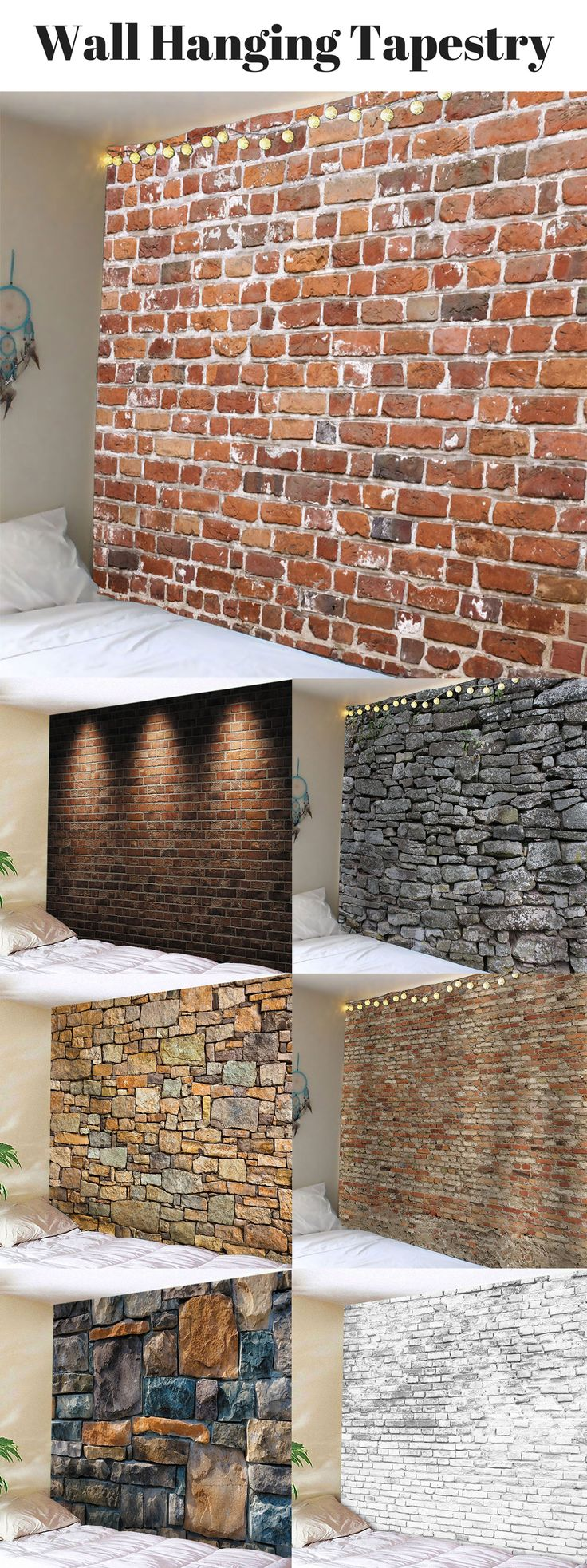 Brick Wall Hanging Tapestry | Starting from $8.62| #WallArt #WallHanging #tapestry