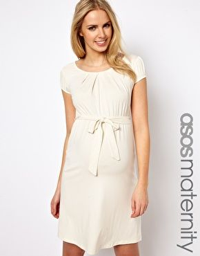 Image 1 of ASOS Maternity Belted Dress With Scoop Neck