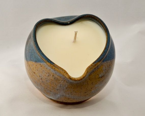 Pottery - Selling now on Etsy, a heart shaped, soy candle in a hand made stoneware bow. $20.00!