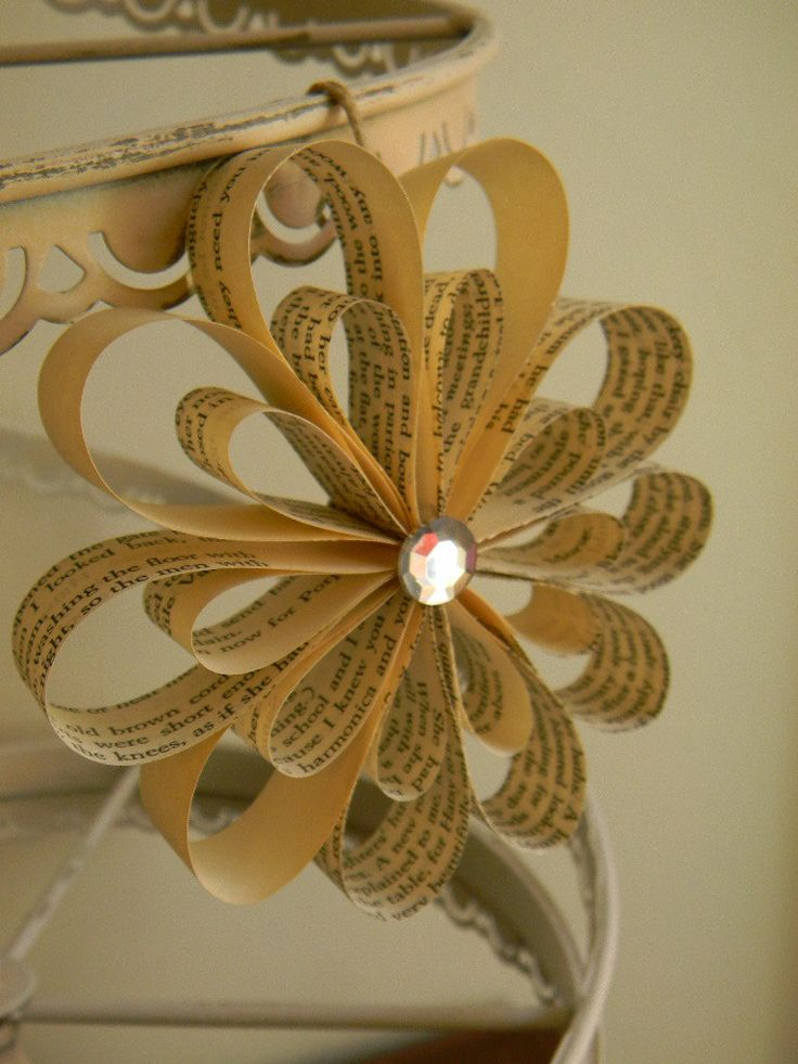 Paper Ornaments out of Book Pages