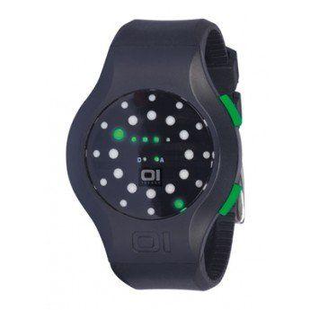 Reloj unisex con caja de acero 42mm, pulsadores de color verde a juego con los leds y correa de caucho antialérgico de color negro http://www.tutunca.es/reloj-lectura-led-verde-manali-kick-the-one