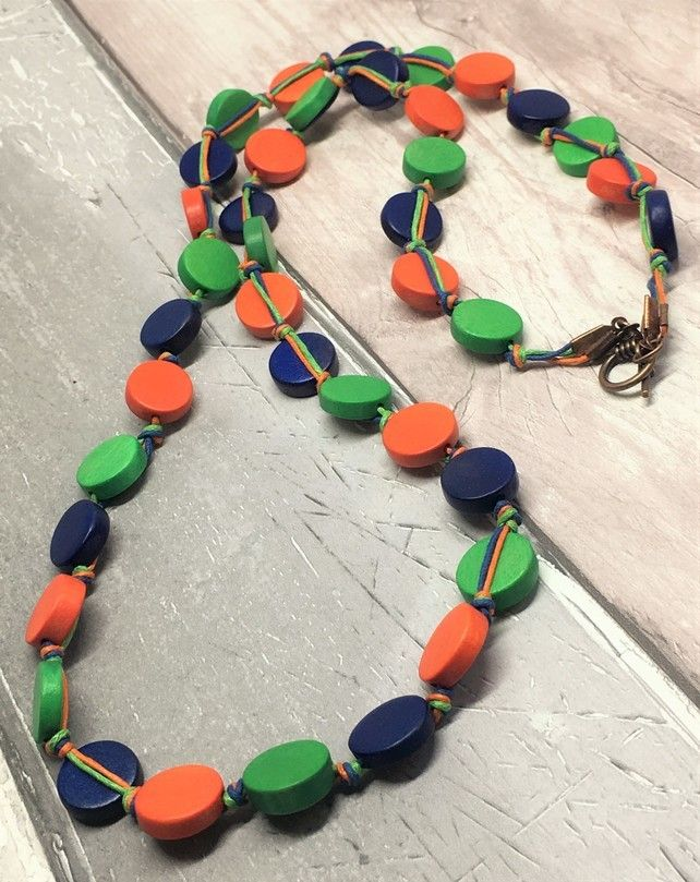 Wooden disc blue, green and orange necklace £20.00