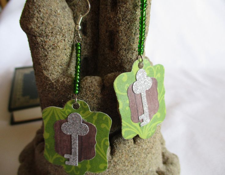 Ephemeral Earrings: Woodland Key Paper Statement Earrings. Silver Glitter Key on Die Cut Wood and Green Cardstock with Seed Beads. Adventure by TheRaisinFairy on Etsy