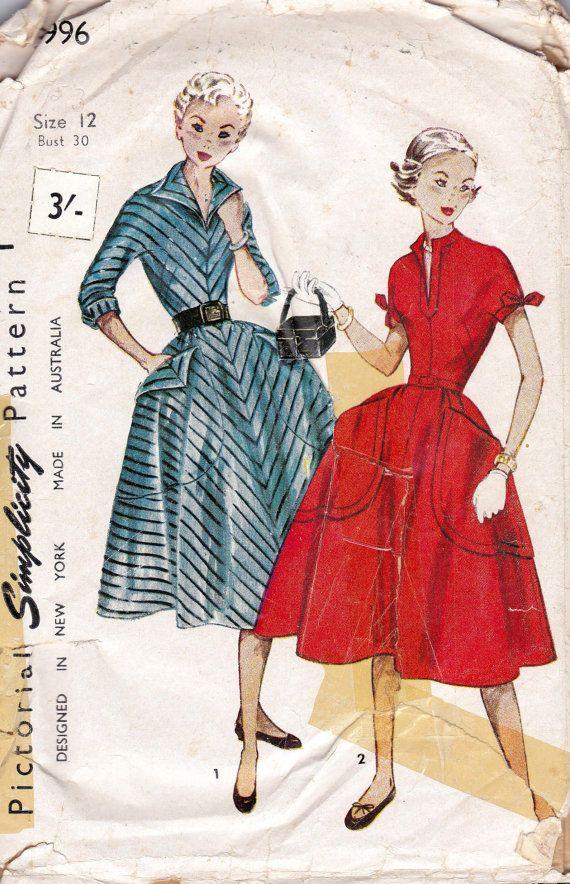 1950s Full Skirt Teen Dress Pattern door allthepreciousthings