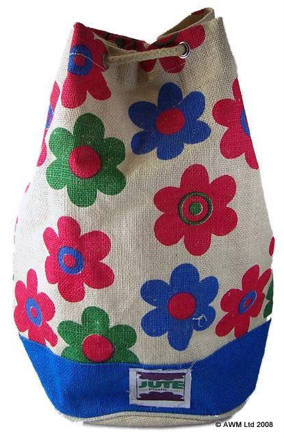 Juteb17a-Jute Duffle Bag~Hard Wearing, Eco Friendly Natural Jute Duffle Bags~By Folio Gothic Hippy