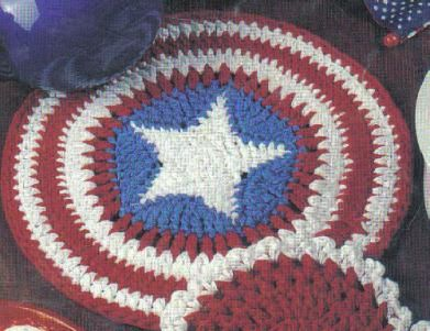Looks almost like a Captain America Shield.  Free American Stars & Stripes Hot Pad Crochet Pattern