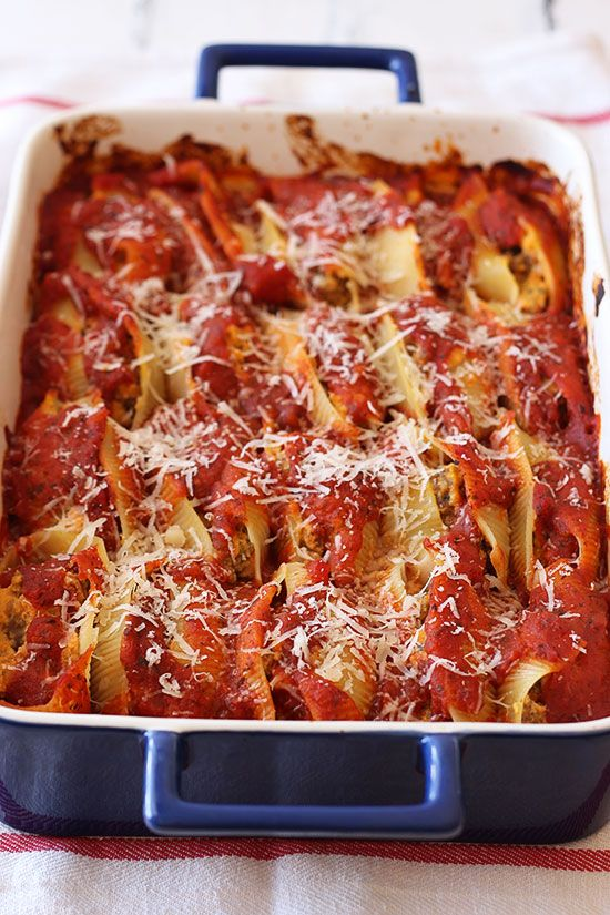 Pumpkin and Sausage Stuffed Shells - Handle the Heat