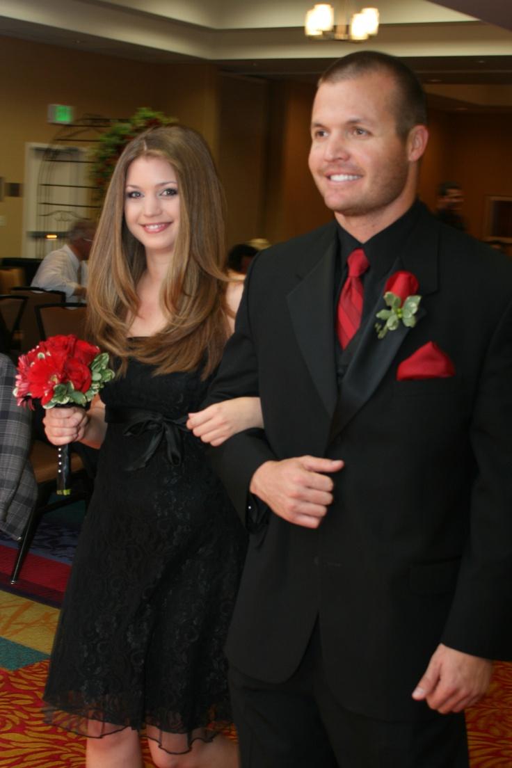 all bridesmaids wore a black dress of their choice....