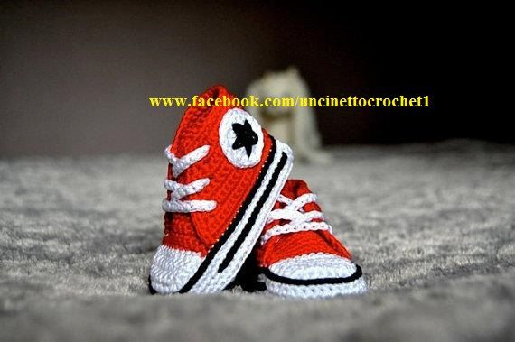 CROCHET PATTERN Baby crochet converse-newborn sneakers- booties-all star-baby knitting shoes-baby girl-baby boy-gift Pattern Pdf file