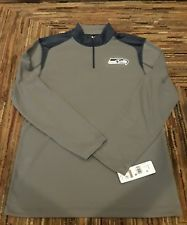 9da561157 NWT NFL MENS SEATTLE SEAHAWKS QUARTER ZIP PULLOVER DRI FIT GREEN NAVY SHIRT  FREE SHIPPING!