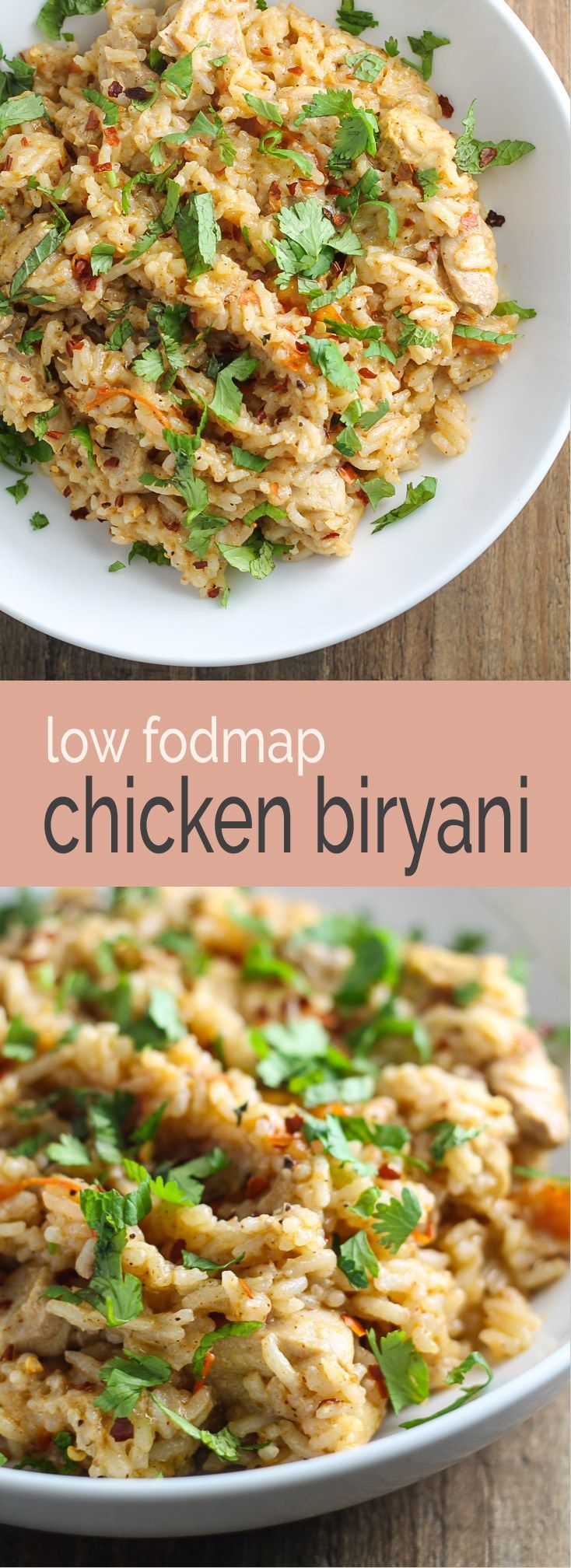 Looking for a warm, comforting bowl of Indian-inspired goodness?! Try this Low Fodmap Chicken Biryani! This recipe is gluten free and dairy free, too!