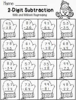 2-digit Subtraction Freebie--winter math worksheet for second grade