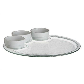 Glass Platters & Bowls - Serving Dishes - Briscoes - Ecology Round Glass Platter with 3 Ceramic Bowls