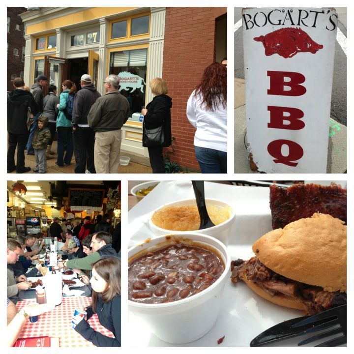 Bogart's Smokehouse, St. Louis: smoky beef brisket, turkey, pulled pork and apricot-bruleed ribs.
