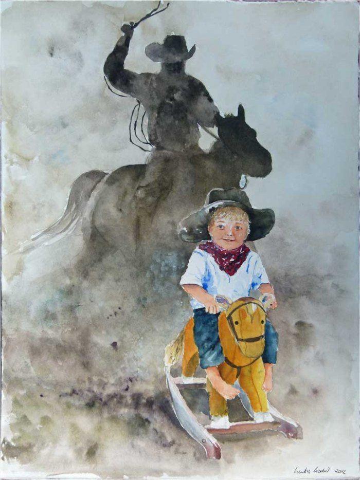 Bi uns to Hus – eine Ausstellung von Hanka und Frank Koebsch | Kleiner Cowboy (c) Aquarell von Hanka Koebsch