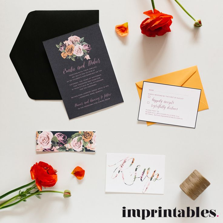The Orange Rose wedding invitation by IMPRINTABLES www.imprintables.com.au