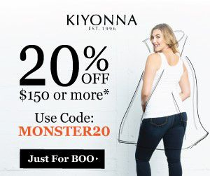 20% off $150+ Save 20% off orders of $150+ at Kiyonna! Use promo code: MONSTER20 at checkout. Now through October 31, 2017. ***  #Plussizeclothing #halloweencoupon #fashion  #planetgoldilocksfashions http://www.planetgoldilocks.com/plussize_clothing