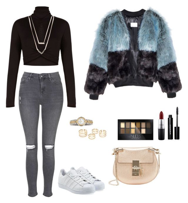 """ILoveFur"" by s2pring on Polyvore featuring BCBGMAXAZRIA, Topshop, Chloé, Hermès, adidas Originals, Michael Kors, Maybelline, MAC Cosmetics and Bobbi Brown Cosmetics"