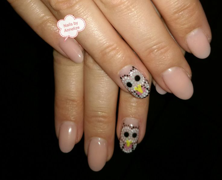 natural acrylic owl dotted nail art