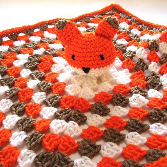 Fox baby security blanket. Ready to ship. Crochet baby ...