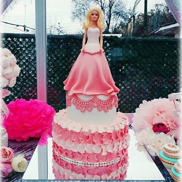 Princess Themed Cake with a Fondant Dressed Barbie on Top!  awesome #cakestotaste from: @pinkblue_atolyesi    cake lover? dont forget to follow us!!   via #cakeguide #cakemenu #kue #kueenak #kuelucu #kueonline #indonesiaphotographers #cake #cakes #cakeart #cakedesign