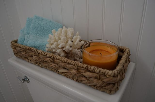 what to put in baskets in the bathroom  CHIC COASTAL LIVING: My Guest Bathroom Make-Over