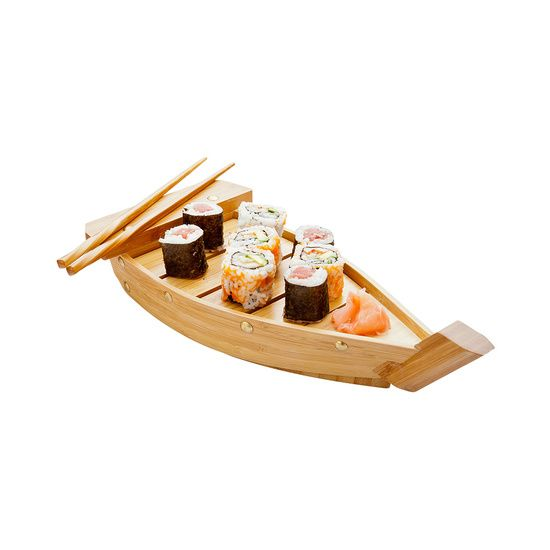 Small Bamboo Sushi Boat 13 inch 1 count box
