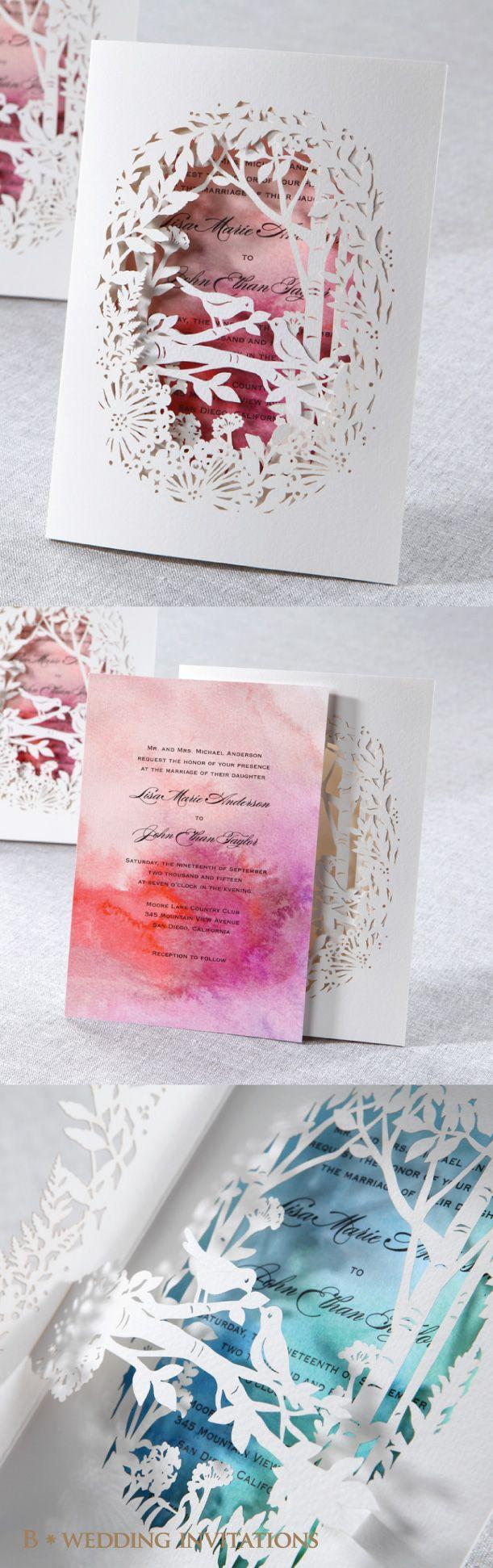 Laser Cut Forest 3D Pocket Wedding Stationery by B Wedding Invitations